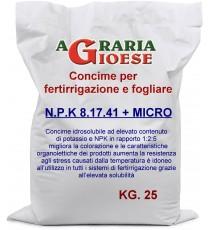 CONCIME PER FERTIRRIGAZIONE CATANA NPK 8.17.41 CON MICROELEMENTI KG. 25