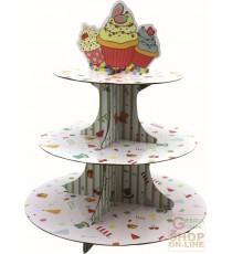 FACKELMANN ALZATA A 3 LIVELLI IN CARTONE PER CUP CAKE MUFFIN DIAM. 30 CM. ART. 43532