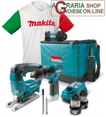 MAKITA KIT TRAPANO A PERCUSSIONE 2 BATTERIE 10,8 V LI ON SEGHETTO ALTERNATIVO RADIO BORSA E T-SHIRT DK1496X1