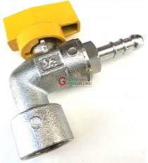 RUBINETTO SFERA A SQUADRA PER GAS GPL METANO UNI 7140 FEMMINA PORTAGOMMA DIAM 1/2F x 8 mm.