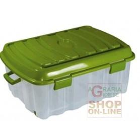 BOX BIG FLAT VOYAGER IN PLASTICA CON COPERCHIO RUOTE E MANIGLIA LT. 90