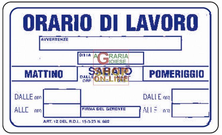 Cartello segnale orario di lavoro mm 300x200 - Orari e prezzi piscina di gorgonzola ...