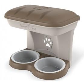 Ciotola per cani Bama Food Stand Maxi colore tortora kit da
