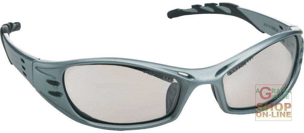 Occhiale a stanghetta montatura acciaio colore blu lenti a - Occhiali specchio blu ...