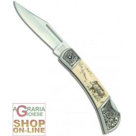 SHARP COLTELLO CON MANICO BIANCO INCISO CINGHIALE CM. 18 6255SH