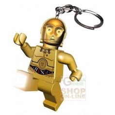 LEGO STAR WARS C-3PO FORMATO TORCIA PORTACHIAVI CON CATENELLA E