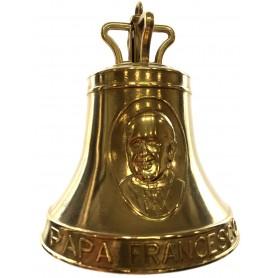 Campana in ottone commemorazione Papa Francesco dimensine mm. 98 x 130h