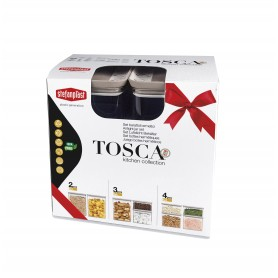 Set 3 pz barattoli rettangolari Tosca Bianco/Tortora chiaro lt. 0,7-1,2-2,2